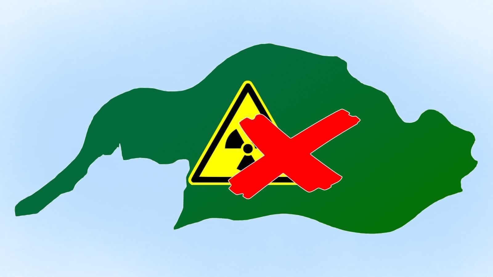 Omtrek van Altena met een logo kernafval en daaroverheen een rood kruis